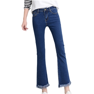 Jeans Solid High Waist Cropped Flared Jeans