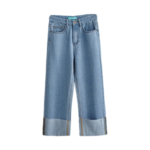 Denim Pants High Waist Wide Leg Denim Pants