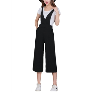 Wide Leg Cropped Suspender Pants