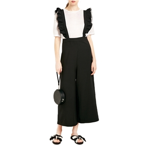 Suspender Pants Sweet Wide Leg Black Suspender Pants