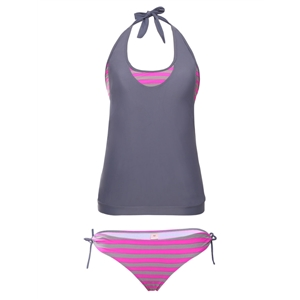 Swimwear Patchwork Halterneck Wireless Padded Tankini Set