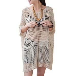 Beachwear Solid Half Sleeve Hollow Out Net Sun Block Cover Ups