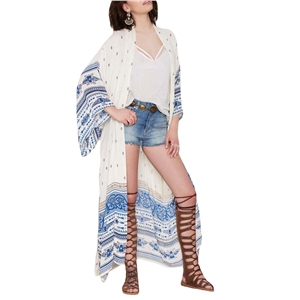 Beachwear Ethnic Floral Pattern Open Front Long Sleeve Cover Ups