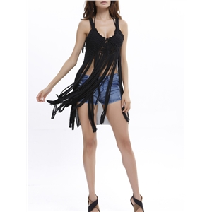 Beach Wear Pure Color Tassels Sleeveless Sexy Cover Up