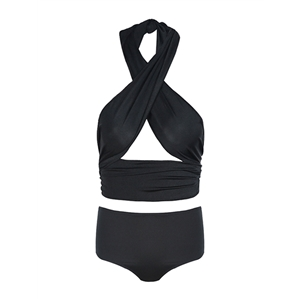 Swimwear Suit Solid Color Hollow Out Crossover Halterneck Sexy Bikini