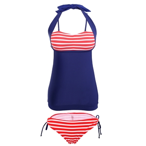 Swimwear Striped Patchwork Halterneck Hollow Out Bow Sexy Tankini