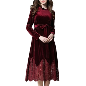 Dress Lace Patch Solid Long Sleeve Dress