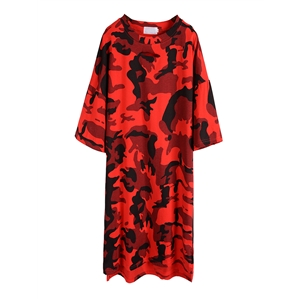 T Shirt Dress Camouflage Short Sleeve Casual Loose Dress