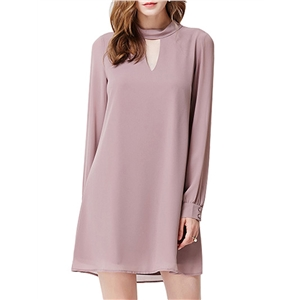 Shift Dress Turn Down Collar Long Sleeve Hollow Out Solid Mini Dress