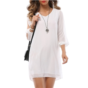 Shift Dress V Neck Long Sleeve Solid Color Hollow Out Loose Mini Dress