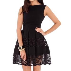 Dress Solid Lace Patch Sleeveless Aline Dress
