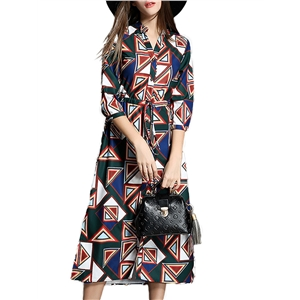 Dress Geometric Color Block High Waist Midi Dress