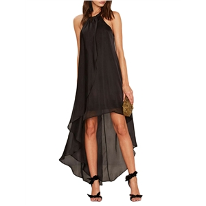 Dress Solid Color Sleeveless High Low Sexy Dress