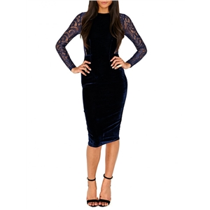 Sheath Dress O Neck Long Sleeve Lace Patchwork Hollow Out Dress