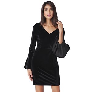 V collar crossed lotus sleeves dress