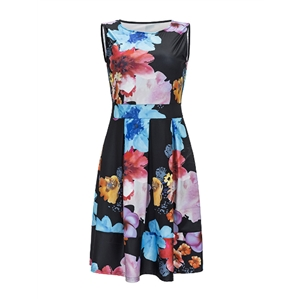 Tank Dress Floral Pattern Sleeveless Casual Slim Dress