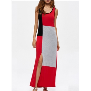 Dress Sleeveless Split Color Block Maxi Long Dress