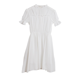 Dress Ruffles Stand Collar Short Sleeve Solid Dress