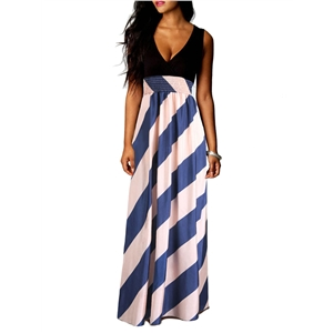 Maxi Long Dress V Neck Stripe Pattern Sexy Dress