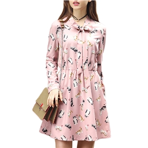 Dress Cute Cat Pattern Long Sleeve Sweet Plus Size Dress