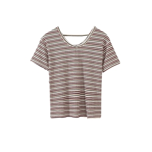 T Shirt V Neck Stripe Slim T Shirt