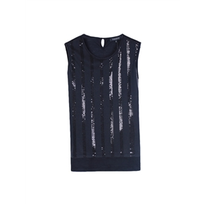 Tank O Neck Sleeveless Sequins Casual Plus Size Top