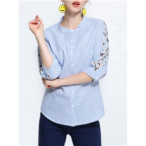 Shirt Stripe Pattern Floral Embroidery Casual Top