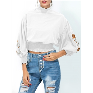 T Shirt Floral Embroidery Long Sleeve Casual Top