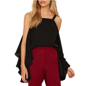 Tank Square Collar Sleeveless Cascading Ruffle Solid Casual Top