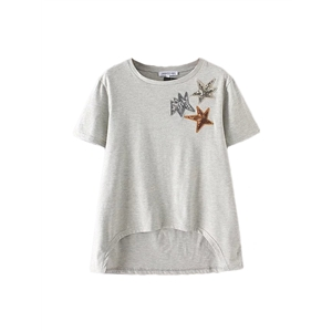 T Shirt Star Pattern Short Sleeve Sequins Casual Top