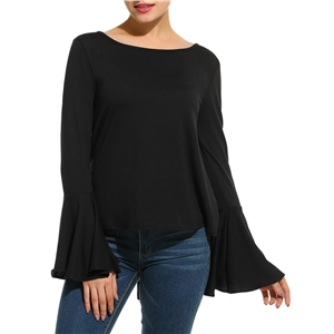 T Shirt O Neck Long Sleeve Back Hollow Out Solid Color Top