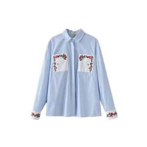 Shirt Turn Down Collar Long Sleeve Colorblock Floral Embroidery Shirt