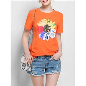 T Shirt O Neck Short Sleeve Flower Pattern Plus Size Top