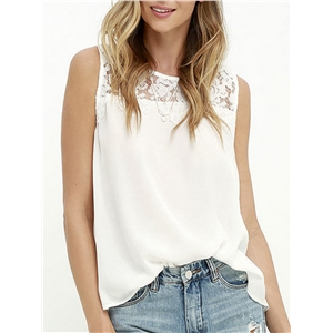 Tank Solid Sleeveless Lace Patchwork Sweet Top