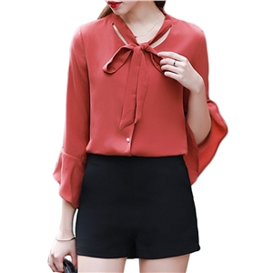 Shirt Solid Color Flared Sleeve Sweet Top