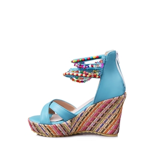 Wedge Sandals Classic Colored Heels Peep Toe Strappy Shoes