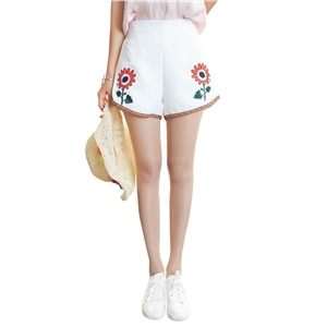 Shorts Floral Embroidery High Waist Shorts