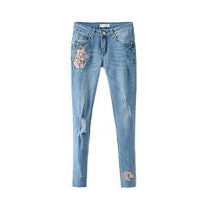Jeans Distressed Floral Embroidery Casual Jeans