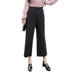 Pants Solid Color High Waist Casual Wide Leg Pants