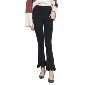 Flared Pants Mid Waisted Tassels Hem Solid Color Skinny Pants