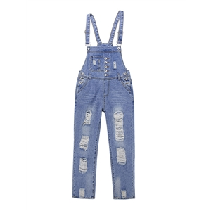 Suspender Jeans Washed Hole Casual Denim Overall