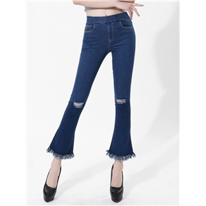 Jeans Elastic Waisted Frayed Hole Decoration Tassels Flared Jean Pants
