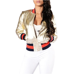 Bomber Jacket PU Leather Colorblock Casual Outweat