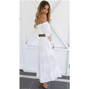 White strapless lace trim sleeves dress(No belt )