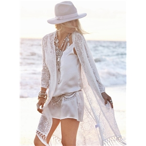 Lace Cover up Cardigan with Tassel