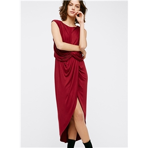 Sleeveless Knot front High Low Dress