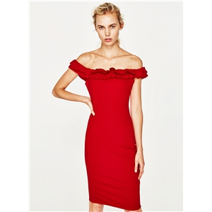 off Shoulder Ruffle Bodycon Party Dress