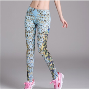 Peacock Print Slim Yoga Pants