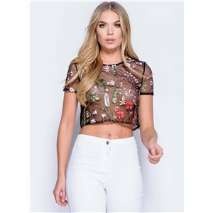 Short Sleeve Floral Embroidery Mesh Crop Top