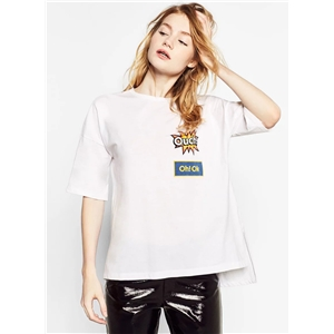 White Pattern Printing Loose Tee Shirt